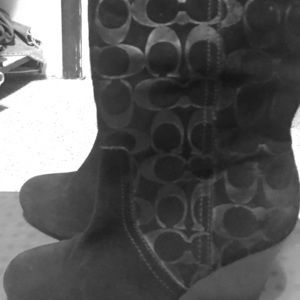 Coach suede wedge boot size 6.5